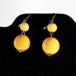 Vintage 1960's Mod Yellow Dangle Earrings